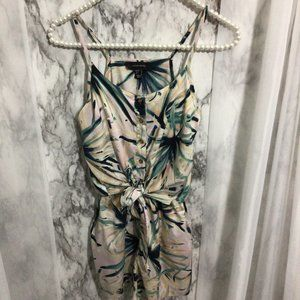 Atmosphere Abstract Plant Print Romper, Size 4